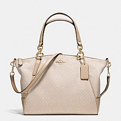 SMALL KELSEY SATCHEL IN LEGACY JACQUARD - f57244 - IMITATION GOLD/MILK BEECHWOOD