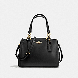 MINI CHRISTIE CARRYALL IN CROSSGRAIN LEATHER - F57265 - LIGHT GOLD/BLACK