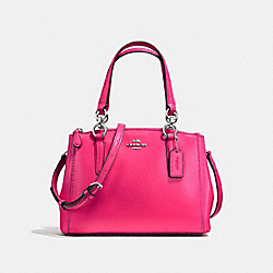 COACH MINI CHRISTIE CARRYALL IN CROSSGRAIN LEATHER - SILVER/AMARANTH - F57265