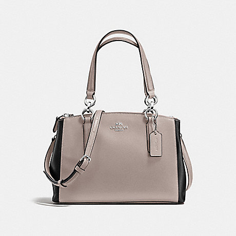 COACH f57266 MINI CHRISTIE CARRYALL IN COLORBLOCK LEATHER SILVER/GREY BIRCH