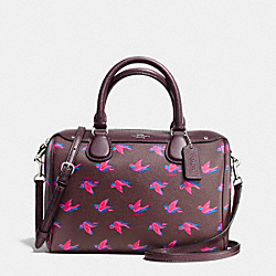 MINI BENNETT SATCHEL IN HAPPY BIRD PRINT COATED CANVAS - f57274 - SILVER/BURGUNDY MULTI OXBLOOD 1