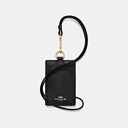 ID LANYARD IN CROSSGRAIN LEATHER - f57311 - IMITATION GOLD/BLACK