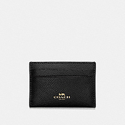 FLAT CARD CASE IN CROSSGRAIN LEATHER - f57312 - IMITATION GOLD/BLACK