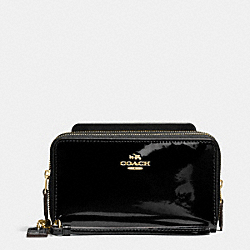 COACH DOUBLE ZIP PHONE WALLET IN PATENT LEATHER - IMITATION GOLD/BLACK - F57314