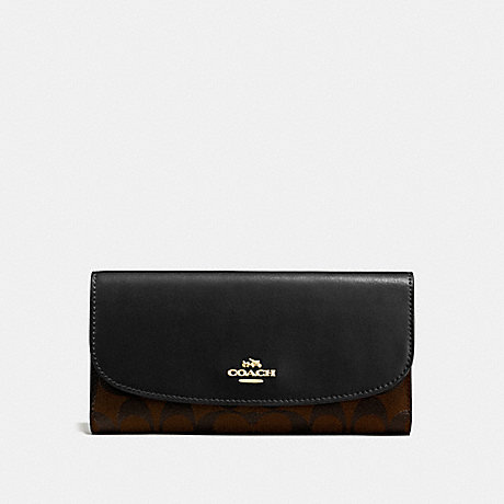 COACH CHECKBOOK WALLET IN SIGNATURE CANVAS - BROWN/BLACK/LIGHT GOLD - F57319