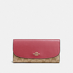 CHECKBOOK WALLET IN SIGNATURE CANVAS - LIGHT KHAKI/ROUGE/GOLD - COACH F57319
