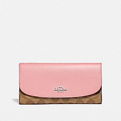 CHECKBOOK WALLET - SILVER/KHAKI BLUSH 2 - COACH F57319