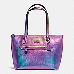 TAYLOR TOTE IN HOLOGRAM LEATHER - f57329 - DARK GUNMETAL/HOLOGRAM