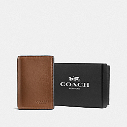 BOXED BIFOLD CARD CASE - DARK SADDLE - COACH F57340