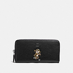 COACH BASEMAN X COACH ACCORDION ZIP WALLET IN POLISHED PEBBLE LEATHER - ANTIQUE NICKEL/BLACK - F57390