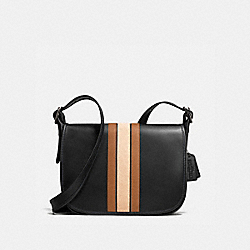 75TH ANNIVERSARY STRIPE PATRICIA SADDLE BAG IN GLOVETANNED CALF LEATHER - f57459 - BLACK ANTIQUE NICKEL/BLACK SADDLE MULTI