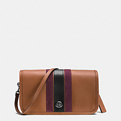 COACH 75TH ANNIVERSARY STRIPE PENNY CROSSBODY IN GLOVETANNED CALF LEATHER - BLACK ANTIQUE NICKEL/SADDLE/OXBLOOD 1 MULTI - F57461