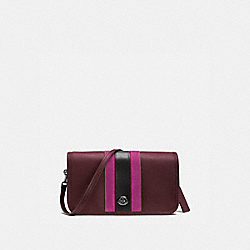COACH 75TH ANNIVERSARY STRIPE PENNY CROSSBODY IN GLOVETANNED CALF LEATHER - BLACK ANTIQUE NICKEL/OXBLOOD 1/FUSCHIA - F57461