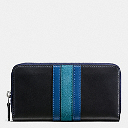 COACH 75TH ANNIVERSARY ACCORDION ZIP WALLET IN GLOVETANNED CALF LEATHER - BLACK ANTIQUE NICKEL/MIDNIGHT DENIM MULTI - F57463