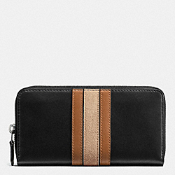 COACH 75TH ANNIVERSARY ACCORDION ZIP WALLET IN GLOVETANNED CALF LEATHER - BLACK ANTIQUE NICKEL/BLACK SADDLE MULTI - F57463