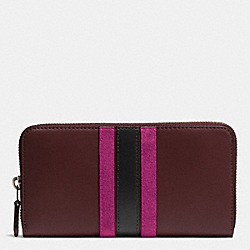 COACH 75TH ANNIVERSARY ACCORDION ZIP WALLET IN GLOVETANNED CALF LEATHER - BLACK ANTIQUE NICKEL/OXBLOOD 1/FUSCHIA - F57463