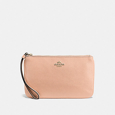 COACH LARGE WRISTLET IN CROSSGRAIN LEATHER - IMITATION GOLD/NUDE PINK - f57465
