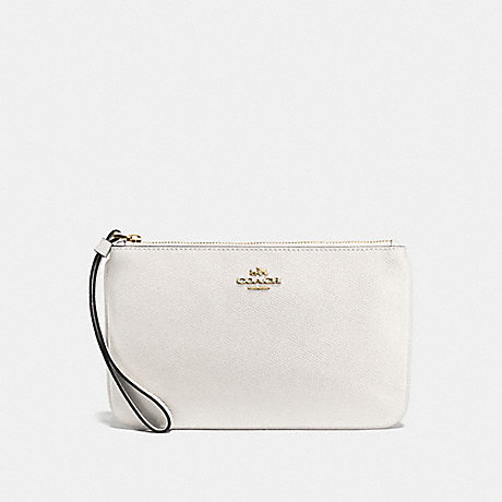 COACH LARGE WRISTLET IN CROSSGRAIN LEATHER - IMITATION GOLD/CHALK - f57465