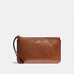 COACH LARGE WRISTLET IN CROSSGRAIN LEATHER - LIGHT GOLD/SADDLE 2 - F57465