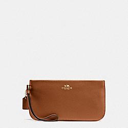 LARGE WRISTLET IN CROSSGRAIN LEATHER - f57465 - IMITATION GOLD/SADDLE