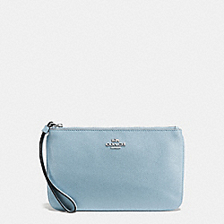 COACH LARGE WRISTLET IN CROSSGRAIN LEATHER - SILVER/CORNFLOWER - F57465