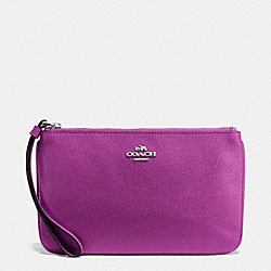 COACH LARGE WRISTLET IN CROSSGRAIN LEATHER - SILVER/HYACINTH - F57465