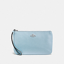 COACH LARGE WRISTLET - PALE BLUE/SILVER - F57465