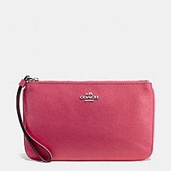 COACH LARGE WRISTLET IN CROSSGRAIN LEATHER - SILVER/STRAWBERRY - F57465