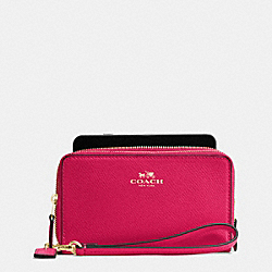 DOUBLE ZIP PHONE WALLET IN CROSSGRAIN LEATHER - f57467 - IMITATION GOLD/BRIGHT PINK