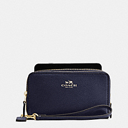 COACH DOUBLE ZIP PHONE WALLET IN CROSSGRAIN LEATHER - IMITATION GOLD/MIDNIGHT - F57467