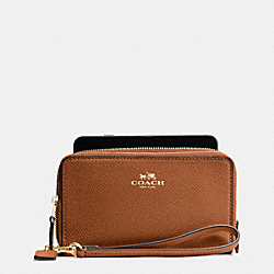 COACH DOUBLE ZIP PHONE WALLET IN CROSSGRAIN LEATHER - IMITATION GOLD/SADDLE - F57467