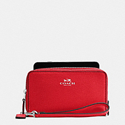 COACH DOUBLE ZIP PHONE WALLET IN CROSSGRAIN LEATHER - SILVER/BRIGHT RED - F57467