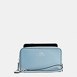 COACH DOUBLE ZIP PHONE WALLET IN CROSSGRAIN LEATHER - SILVER/CORNFLOWER - F57467