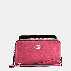 COACH DOUBLE ZIP PHONE WALLET IN CROSSGRAIN LEATHER - SILVER/STRAWBERRY - F57467