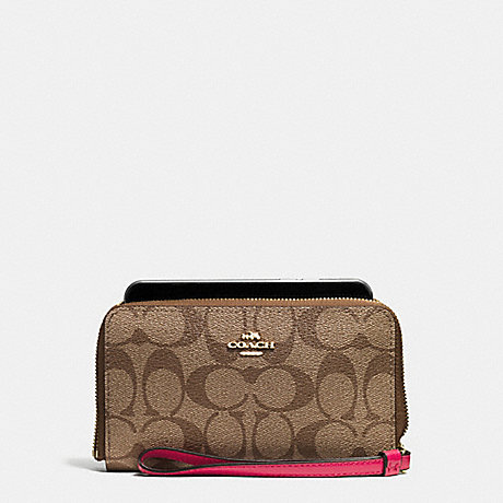 COACH PHONE WALLET IN SIGNATURE COATED CANVAS - IMITATION GOLD/KHAKI/BRIGHT PINK - f57468