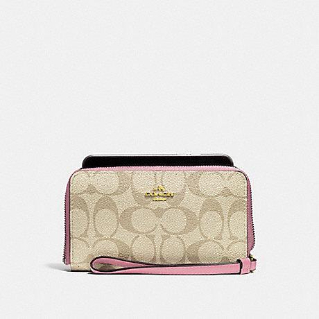 COACH PHONE WALLET IN SIGNATURE CANVAS - light khaki/vintage pink/imitation gold - f57468