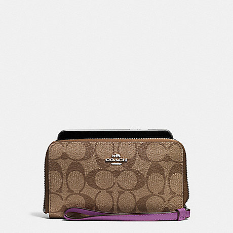 COACH PHONE WALLET IN SIGNATURE COATED CANVAS - SILVER/KHAKI - f57468