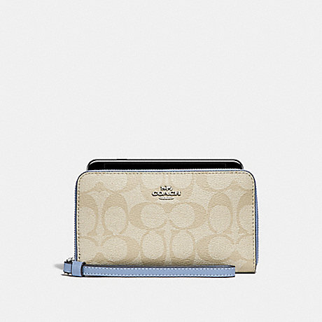 COACH PHONE WALLET IN SIGNATURE CANVAS - LIGHT KHAKI/POOL/SILVER - f57468