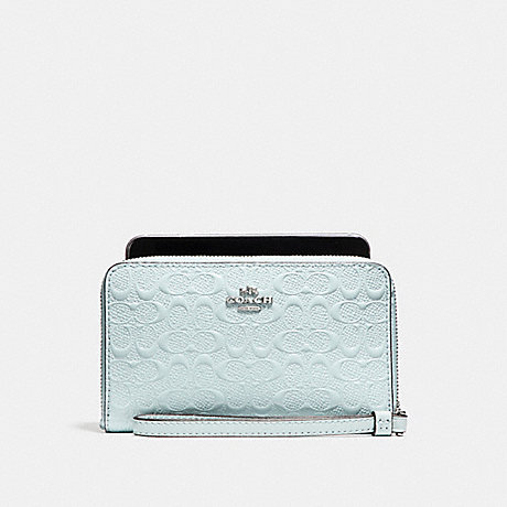 COACH PHONE WALLET IN SIGNATURE DEBOSSED PATENT LEATHER - SILVER/AQUA - f57469