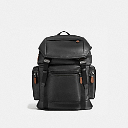 COACH TERRAIN TREK PACK IN PERFORATED MIXED MATERIALS - BLACK/DARK SADDLE - F57477