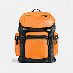 COACH TERRAIN TREK PACK IN PERFORATED MIXED MATERIALS - ORANGE/GRAPHITE - F57477