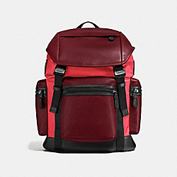 COACH F57477 - TERRAIN TREK PACK IN PERFORATED MIXED MATERIALS BRICK RED/BRIGHT RED