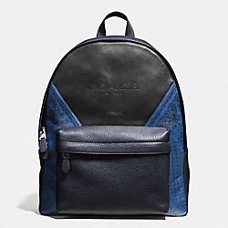 COACH CHARLES BACKPACK IN PATCHWORK LEATHER - INDIGO/BLACK BANDANA - F57482