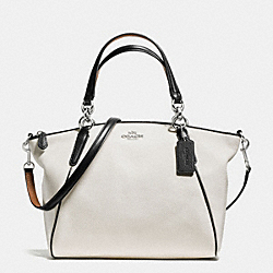 SMALL KELSEY SATCHEL WITH CONTRAST TRIM IN PEBBLE LEATHER - f57486 - SILVER/CHALK MULTI
