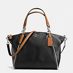 SMALL KELSEY SATCHEL WITH CONTRAST TRIM IN PEBBLE LEATHER - f57486 - SILVER/BLACK MULTI
