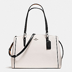 COACH CHRISTIE CARRYALL WITH CONTRAST TRIM IN CROSSGRAIN LEATHER - SILVER/CHALK MULTI - F57488