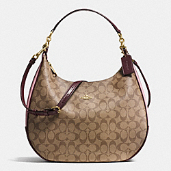 HARLEY HOBO IN COLORBLOCK SIGNATURE - f57491 - IMITATION GOLD/KHAKI OXBLOOD MULTI