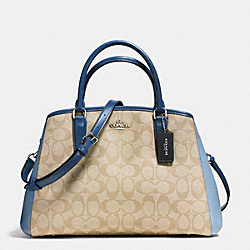 COACH SMALL MARGOT CARRYALL IN COLORBLOCK SIGNATURE - SILVER/KHAKI/BLUE MULTI - F57492