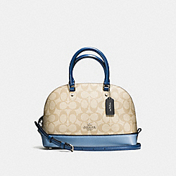 COACH MINI SIERRA SATCHEL IN COLORBLOCK SIGNATURE - SILVER/KHAKI/BLUE MULTI - F57493