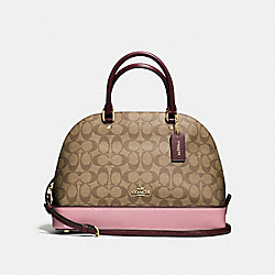 SIERRA SATCHEL IN COLORBLOCK SIGNATURE - f57494 - IMITATION GOLD/KHAKI OXBLOOD MULTI
